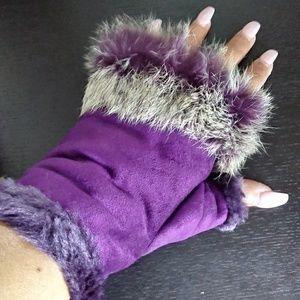 Fur Lined Fingerless Gloves